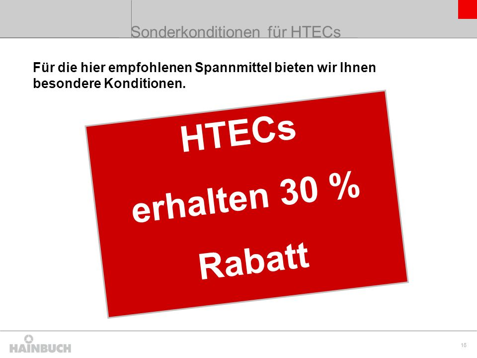 Sonderkonditionen für HTECs