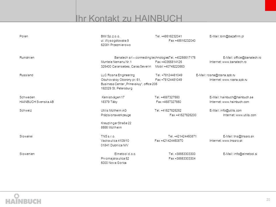 Ihr Kontakt zu HAINBUCH