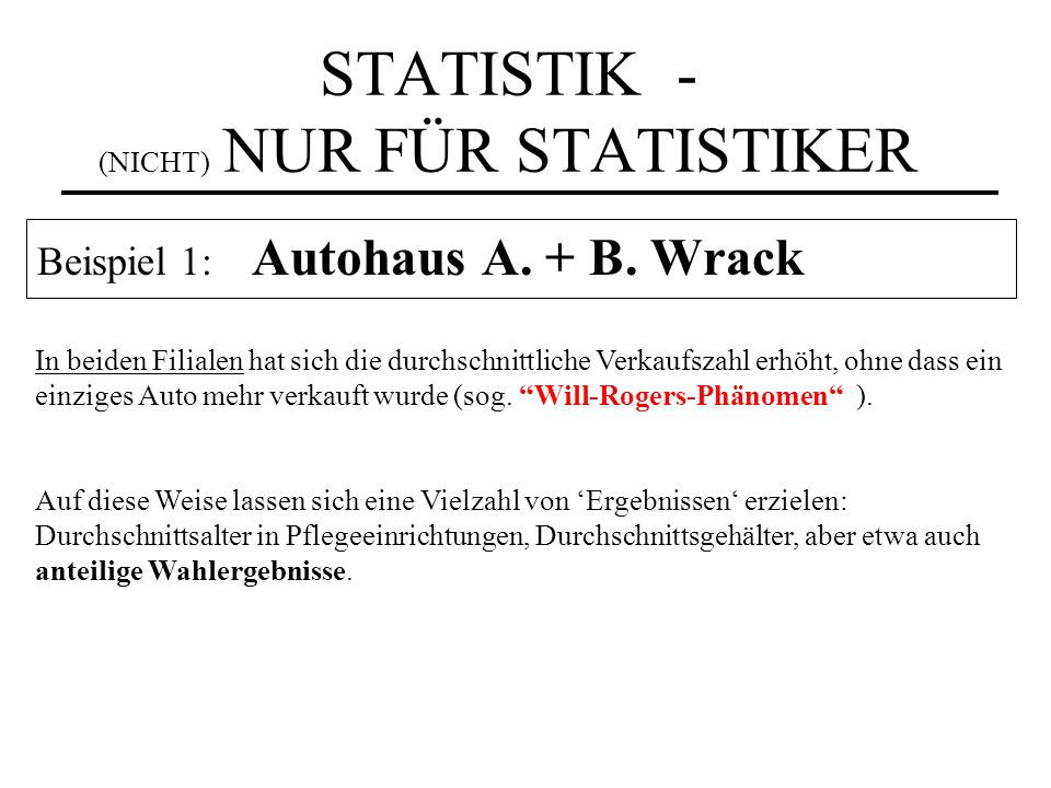 STATISTIK - (NICHT) NUR FÜR STATISTIKER