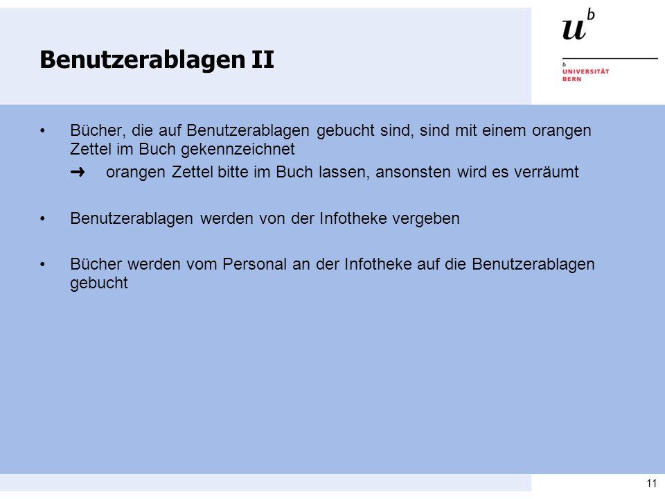 Benutzerablagen II • Bücher, die auf Benutzerablagen gebucht sind, sind mit einem orangen Zettel im Buch gekennzeichnet.