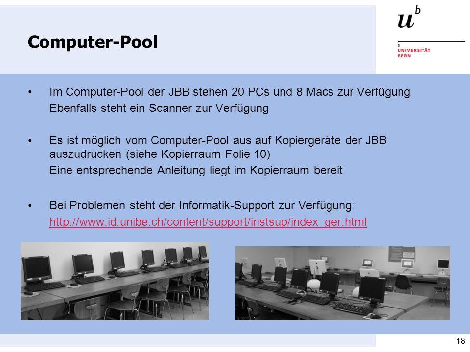 Computer-Pool • Im Computer-Pool der JBB stehen 20 PCs und 8 Macs zur Verfügung. Ebenfalls steht ein Scanner zur Verfügung.