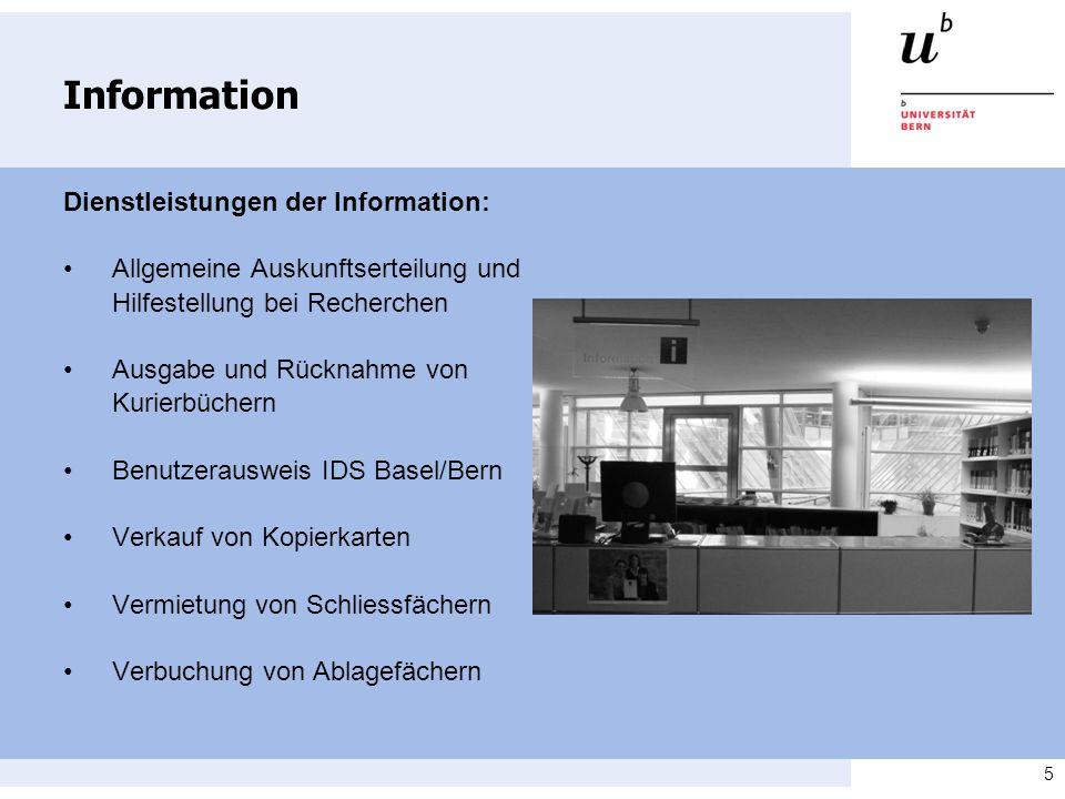 Information Dienstleistungen der Information:
