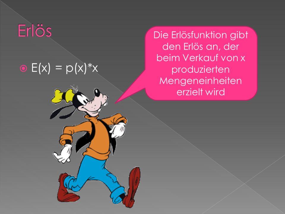 Erlös Die Erlösfunktion gibt den Erlös an, der beim Verkauf von x produzierten Mengeneinheiten erzielt wird.