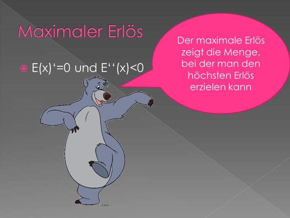Maximaler Erlös E(x)'=0 und E''(x)<0