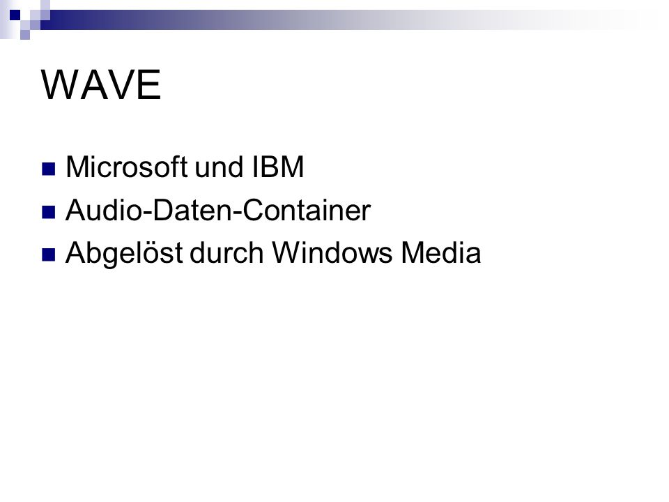 WAVE Microsoft und IBM Audio-Daten-Container