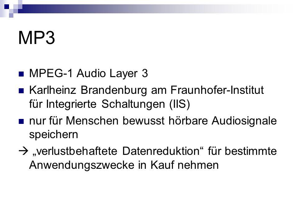 MP3 MPEG-1 Audio Layer 3. Karlheinz Brandenburg am Fraunhofer-Institut für Integrierte Schaltungen (IIS)