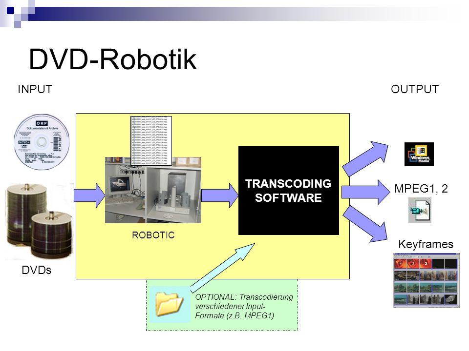 DVD-Robotik INPUT OUTPUT TRANSCODING SOFTWARE MPEG1, 2 Keyframes DVDs