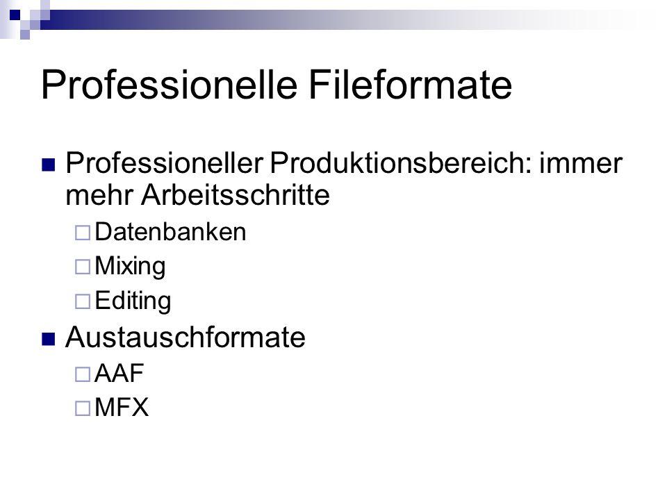 Professionelle Fileformate