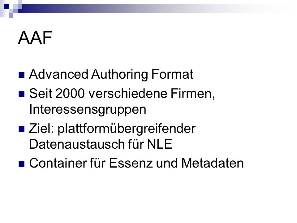 AAF Advanced Authoring Format