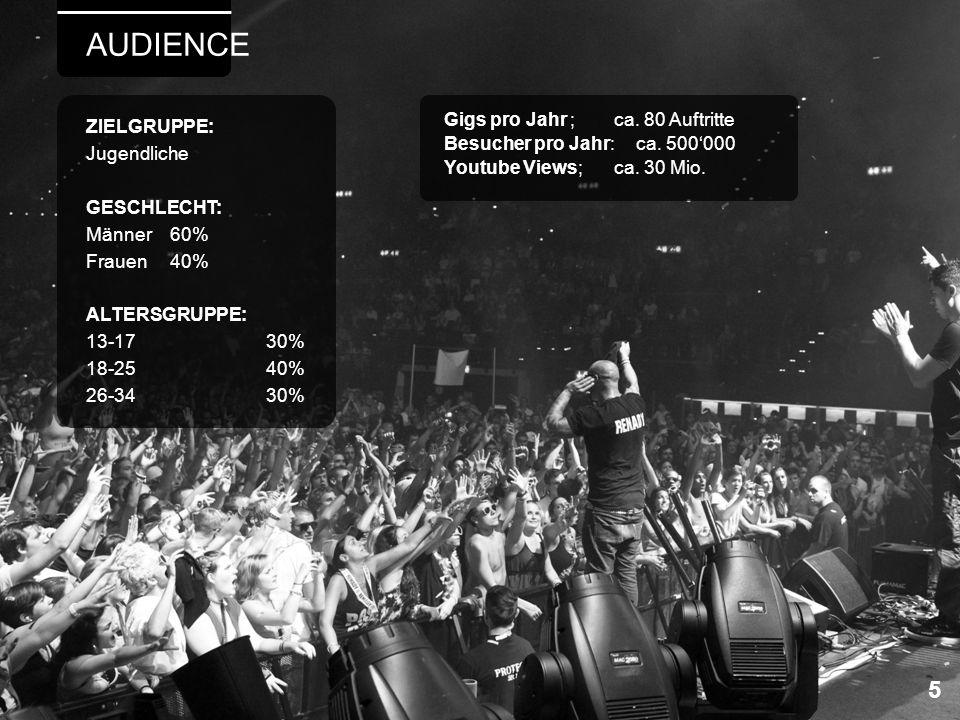 AUDIENCE 5 Gigs pro Jahr ; ca. 80 Auftritte