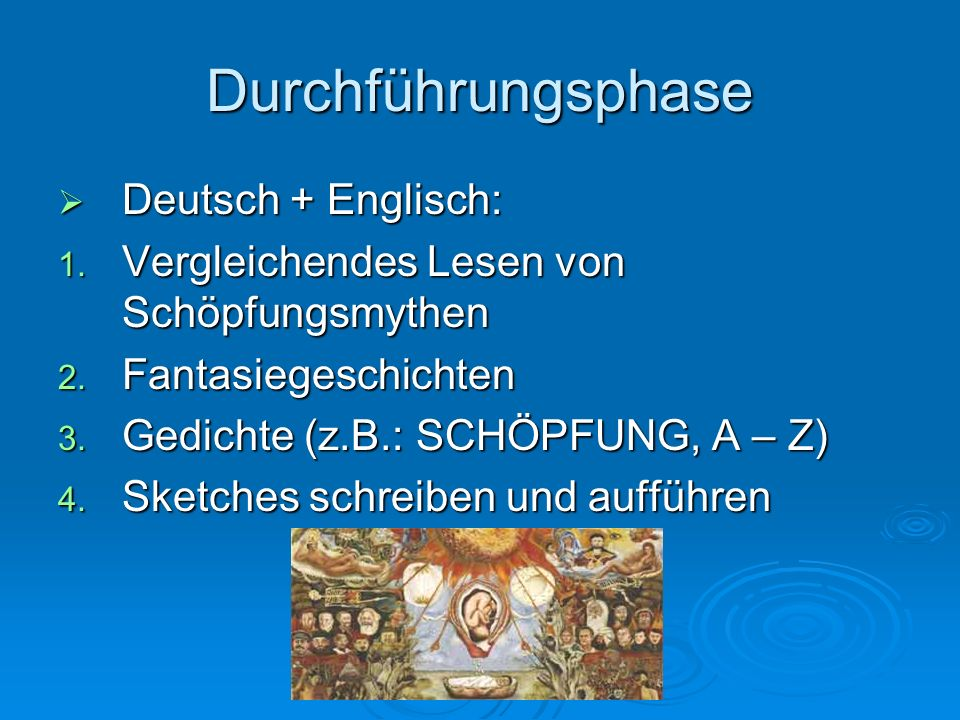 Durchführungsphase Deutsch + Englisch: