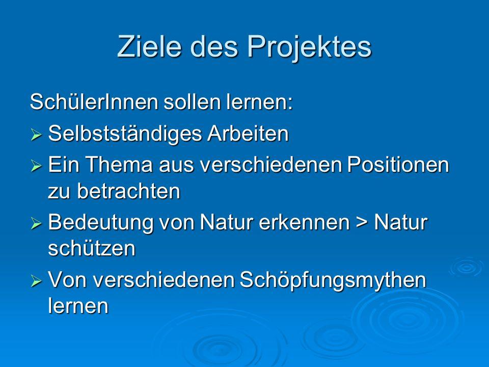 Ziele des Projektes SchülerInnen sollen lernen: