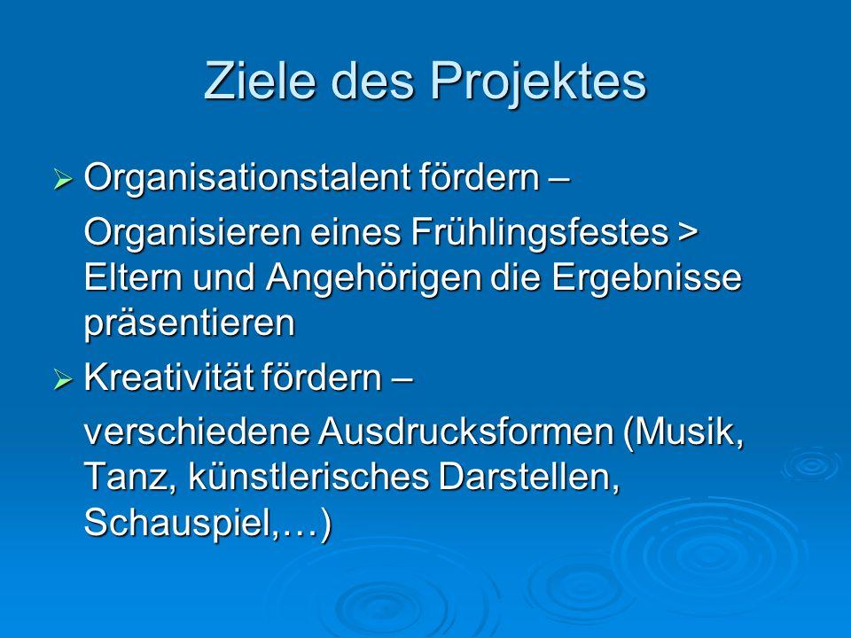 Ziele des Projektes Organisationstalent fördern –
