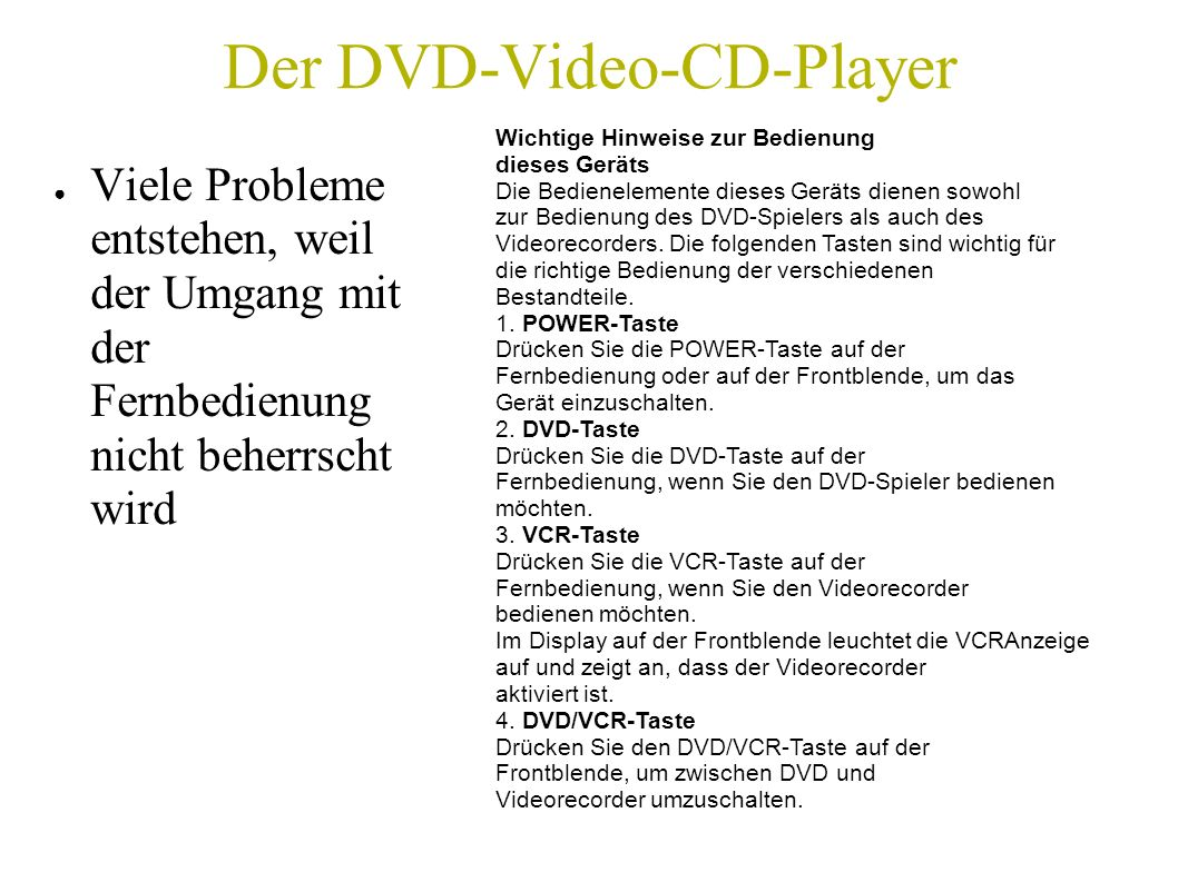 Der DVD-Video-CD-Player