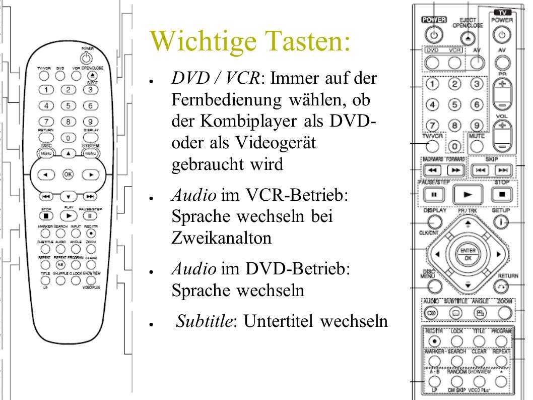 Wichtige Tasten: DVD / VCR: Immer auf der Fernbedienung wählen, ob der Kombiplayer als DVD- oder als Videogerät gebraucht wird.