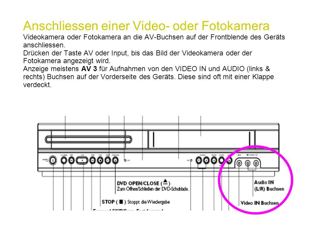Anschliessen einer Video- oder Fotokamera Videokamera oder Fotokamera an die AV-Buchsen auf der Frontblende des Geräts anschliessen.