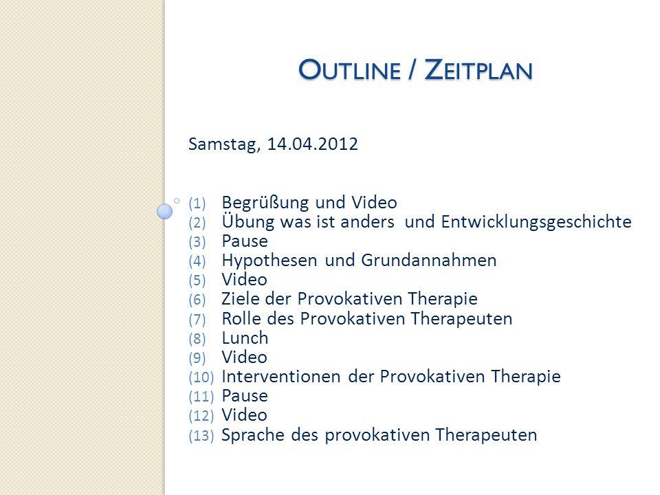 Outline / Zeitplan Samstag, 14.04.2012 Begrüßung und Video