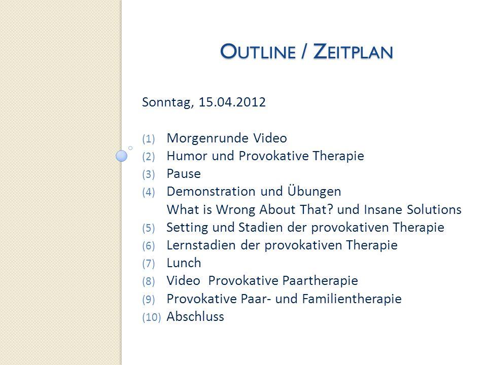 Outline / Zeitplan Sonntag, 15.04.2012 Morgenrunde Video