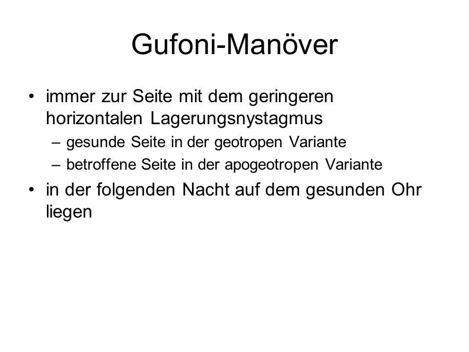 Gufoni-Manöver immer zur Seite mit dem geringeren horizontalen Lagerungsnystagmus. gesunde Seite in der geotropen Variante.