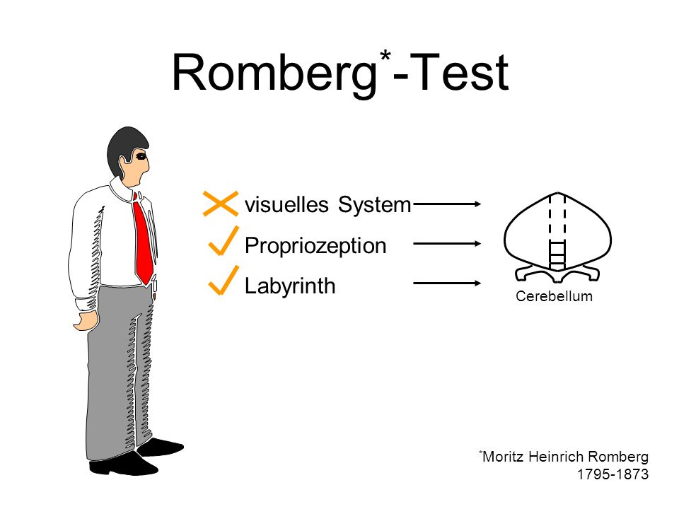 Romberg*-Test visuelles System Propriozeption Labyrinth Cerebellum