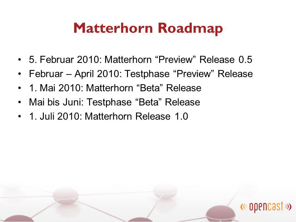 Matterhorn Roadmap 5. Februar 2010: Matterhorn Preview Release 0.5