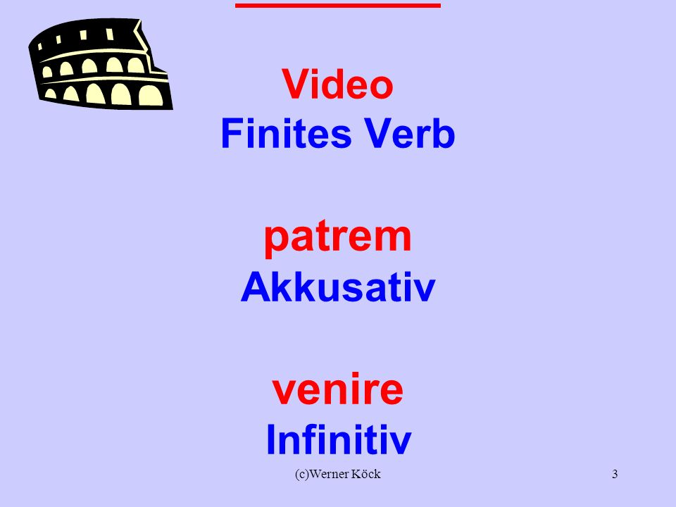 Lateinisch Video Finites Verb patrem Akkusativ venire Infinitiv