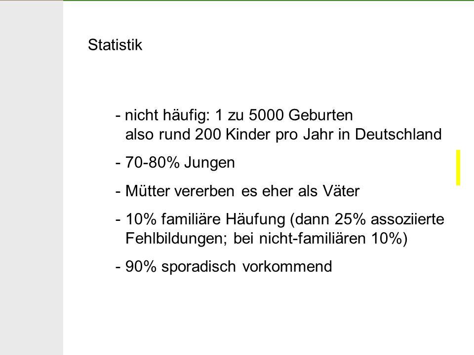 Statistik - nicht häufig: 1 zu 5000 Geburten. also rund 200 Kinder pro Jahr in Deutschland. 70-80% Jungen.