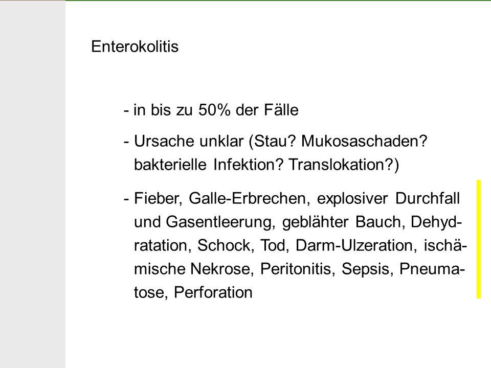Enterokolitis - in bis zu 50% der Fälle. Ursache unklar (Stau Mukosaschaden bakterielle Infektion Translokation )