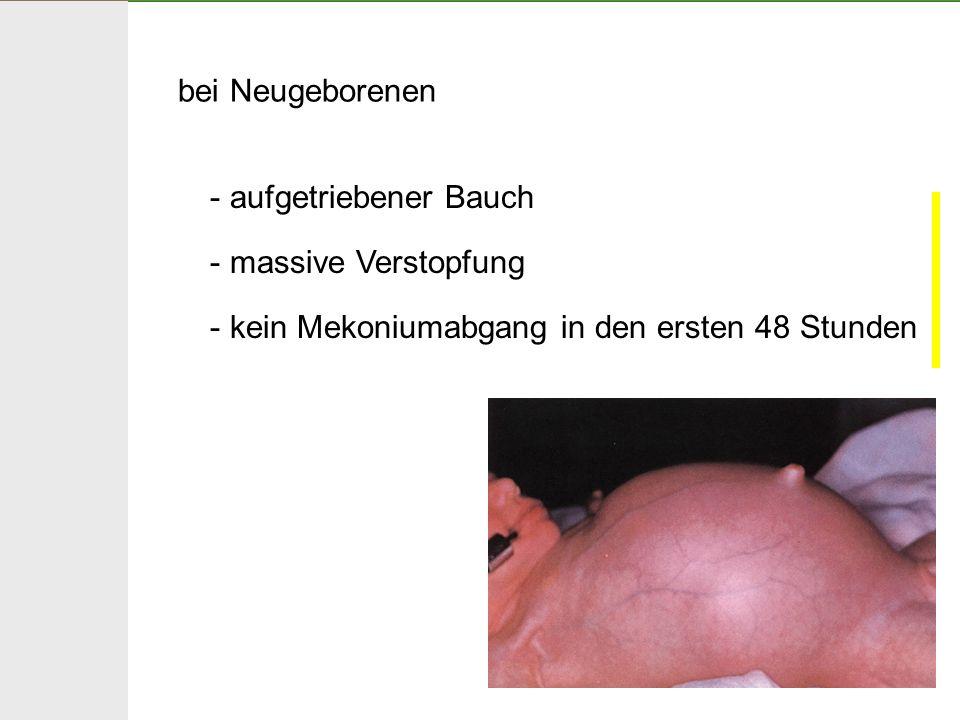 bei Neugeborenen aufgetriebener Bauch. massive Verstopfung.