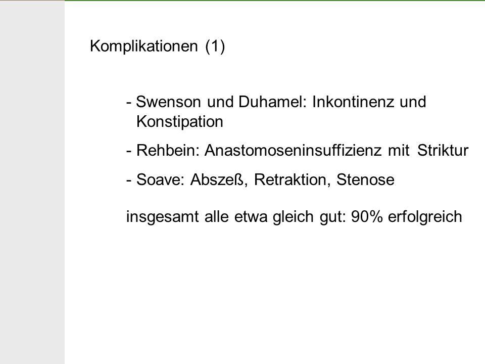 Komplikationen (1) - Swenson und Duhamel: Inkontinenz und Konstipation. Rehbein: Anastomoseninsuffizienz mit Striktur.