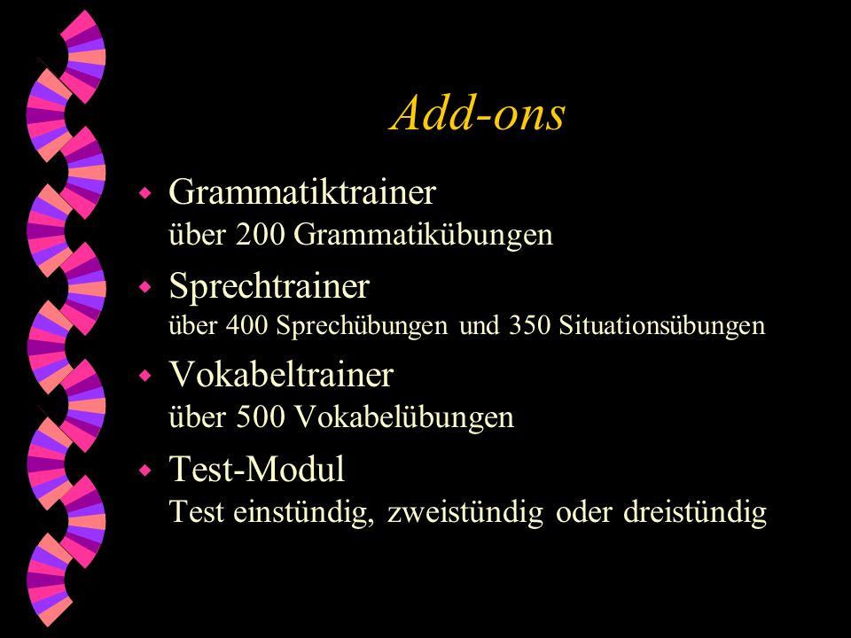 Add-ons Grammatiktrainer über 200 Grammatikübungen