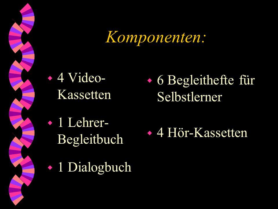 Komponenten: 4 Video-Kassetten 6 Begleithefte für Selbstlerner