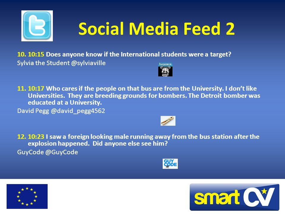 Social Media Feed 2 10. 10:15 Does anyone know if the International students were a target Sylvia the Student @sylviaville.