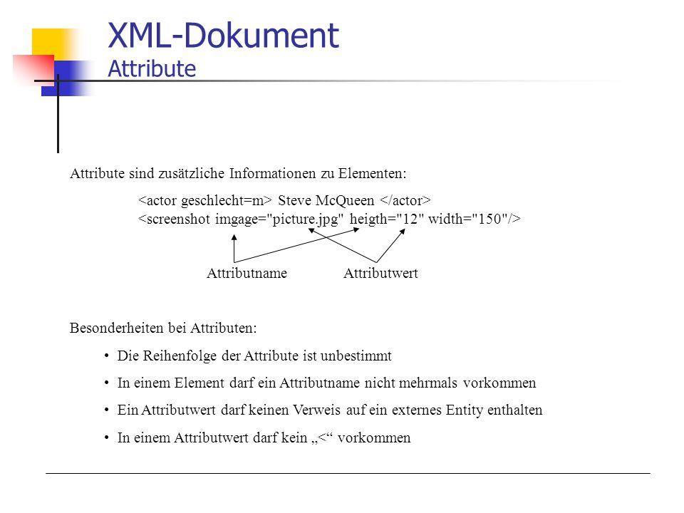 XML-Dokument Attribute