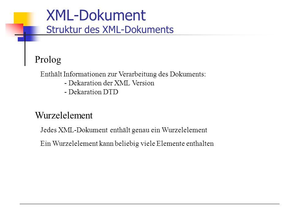 XML-Dokument Struktur des XML-Dokuments