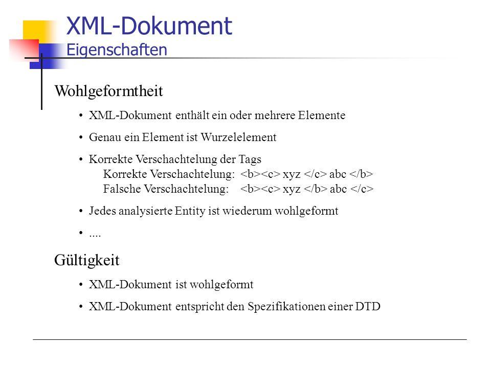 XML-Dokument Eigenschaften