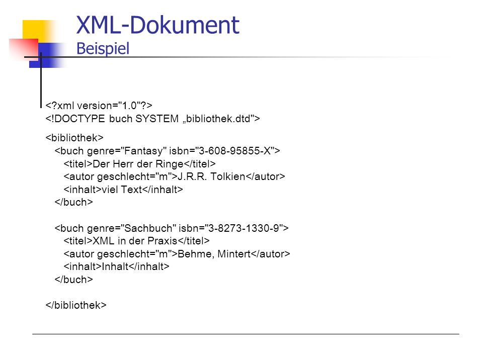 XML-Dokument Beispiel