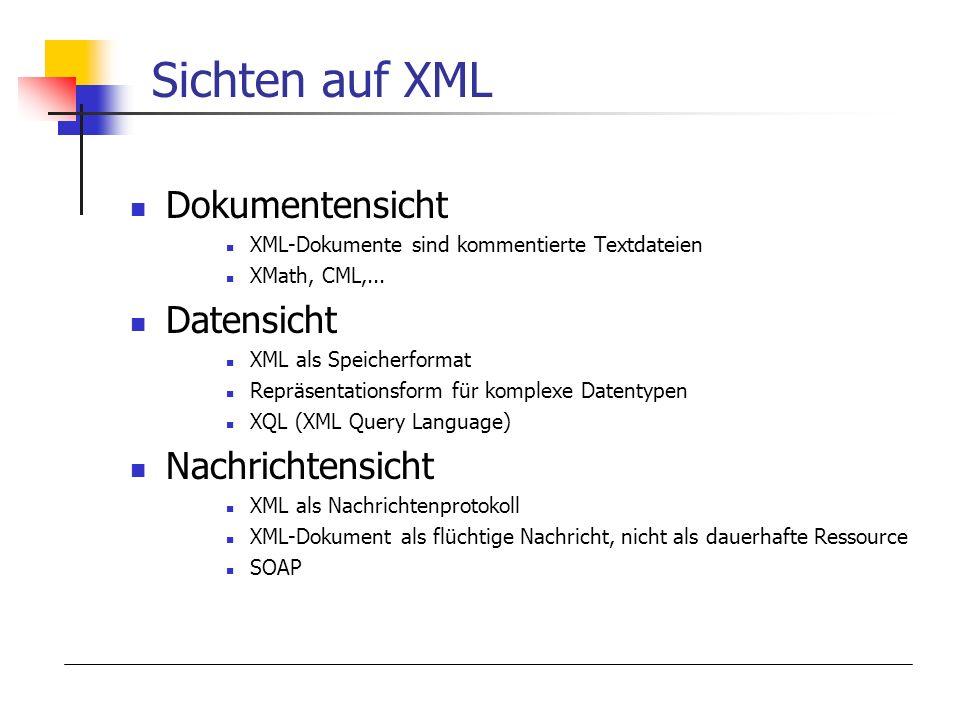 Sichten auf XML Dokumentensicht Datensicht Nachrichtensicht
