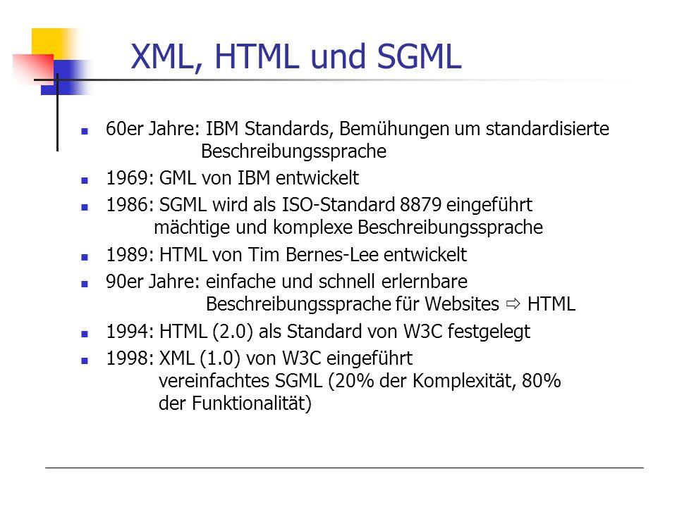 XML, HTML und SGML 60er Jahre: IBM Standards, Bemühungen um standardisierte Beschreibungssprache.