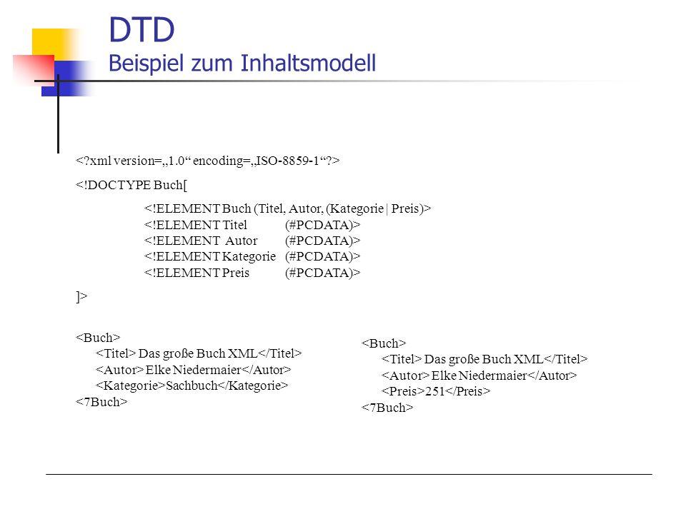 DTD Beispiel zum Inhaltsmodell