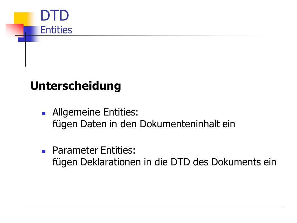 DTD Entities Unterscheidung