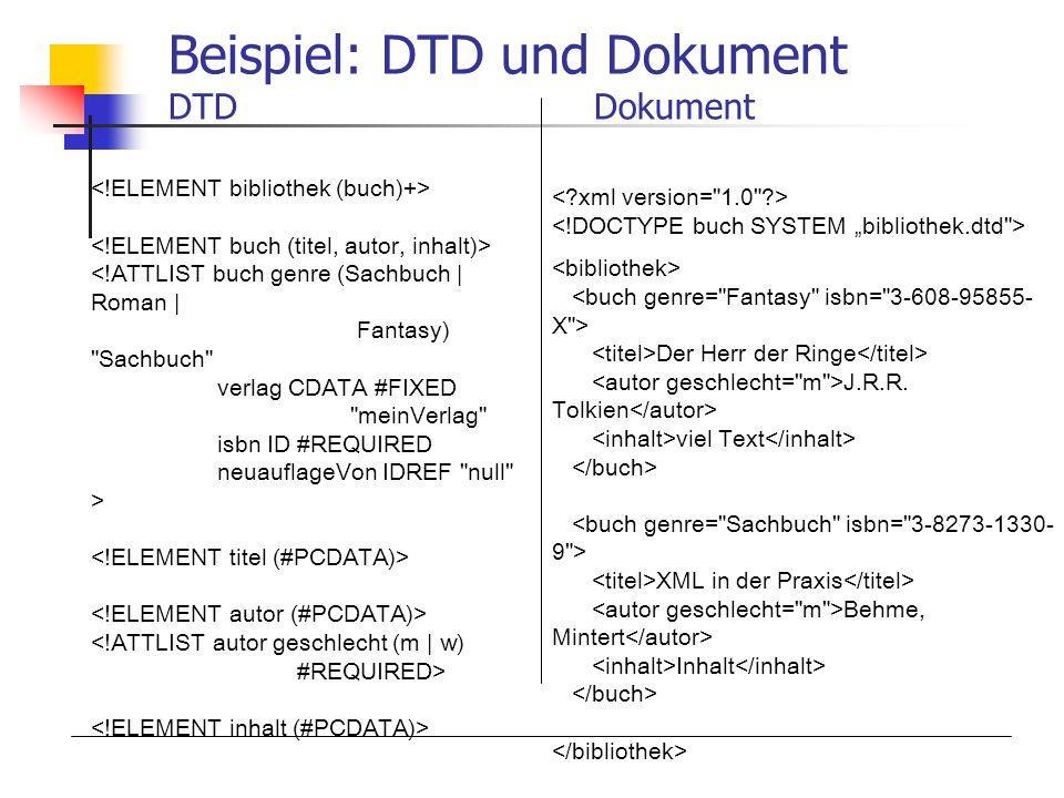 Beispiel: DTD und Dokument DTD Dokument