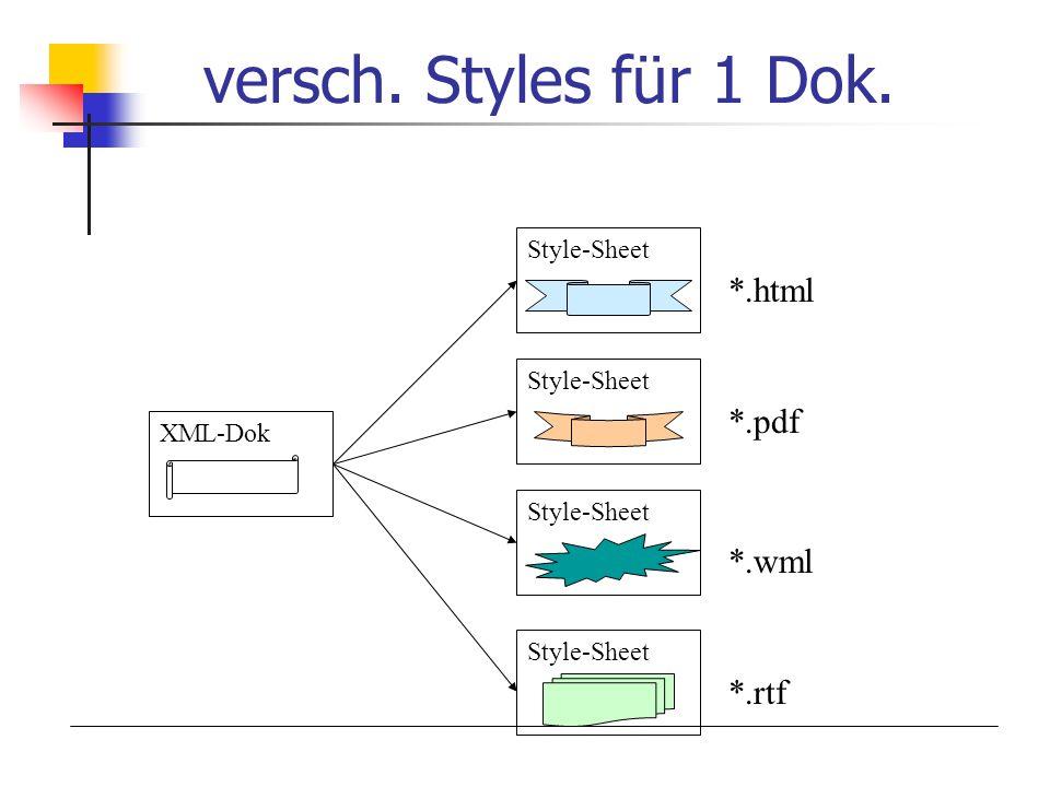 versch. Styles für 1 Dok. *.html *.pdf *.wml *.rtf Style-Sheet