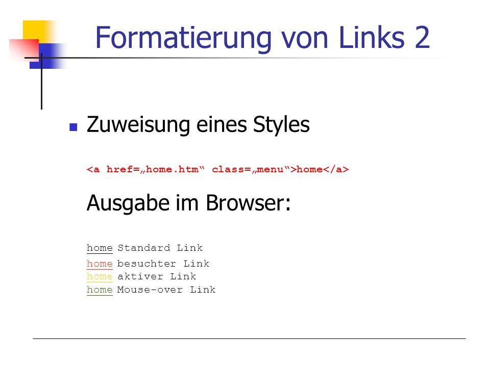 Formatierung von Links 2