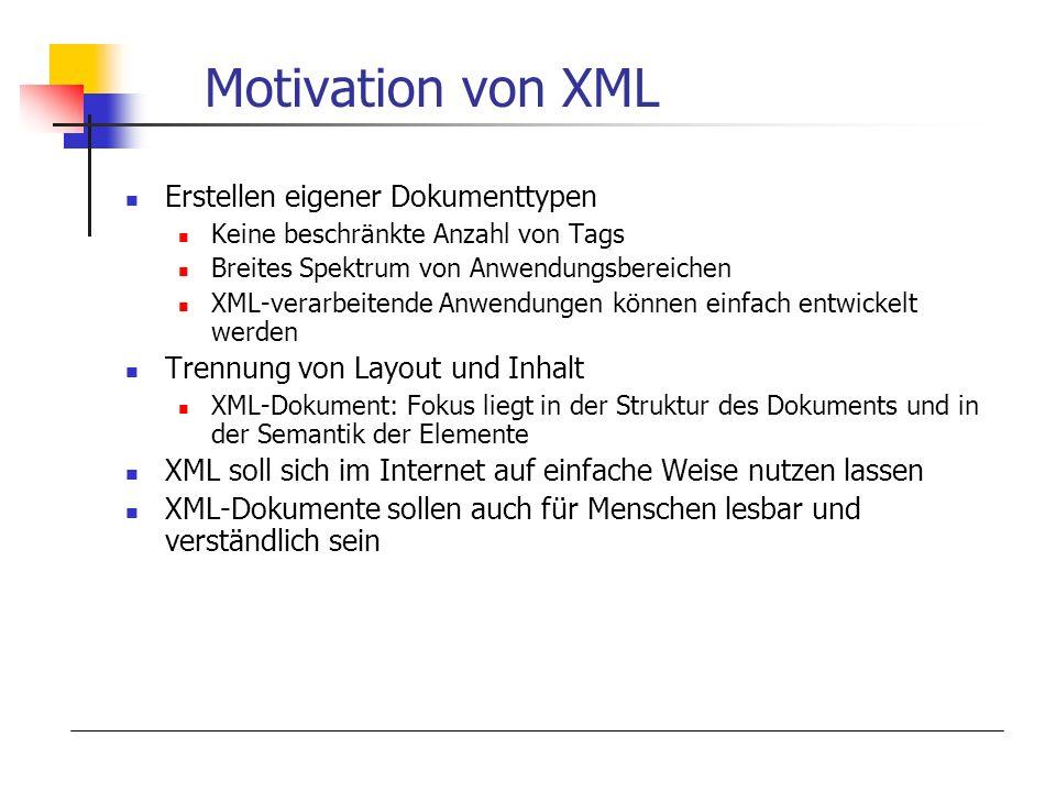 Motivation von XML Erstellen eigener Dokumenttypen