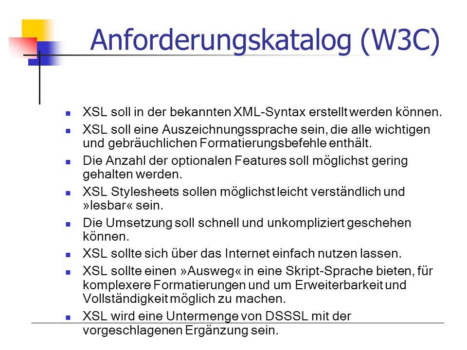 Anforderungskatalog (W3C)