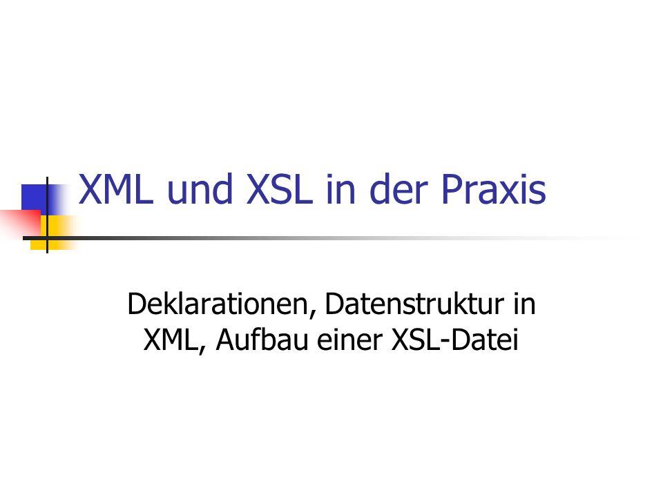 XML und XSL in der Praxis