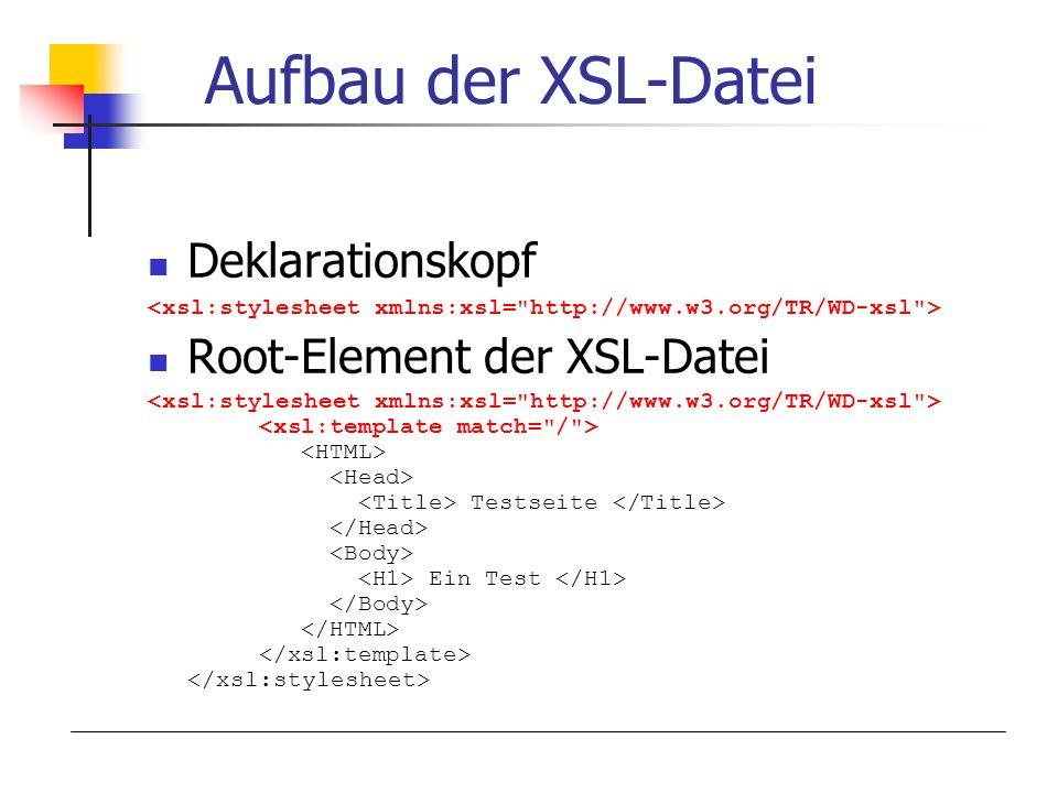 Aufbau der XSL-Datei Deklarationskopf Root-Element der XSL-Datei