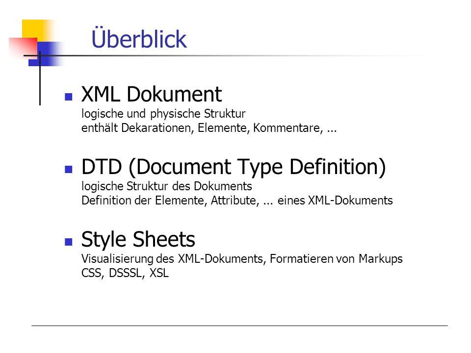 Überblick XML Dokument logische und physische Struktur enthält Dekarationen, Elemente, Kommentare, ...