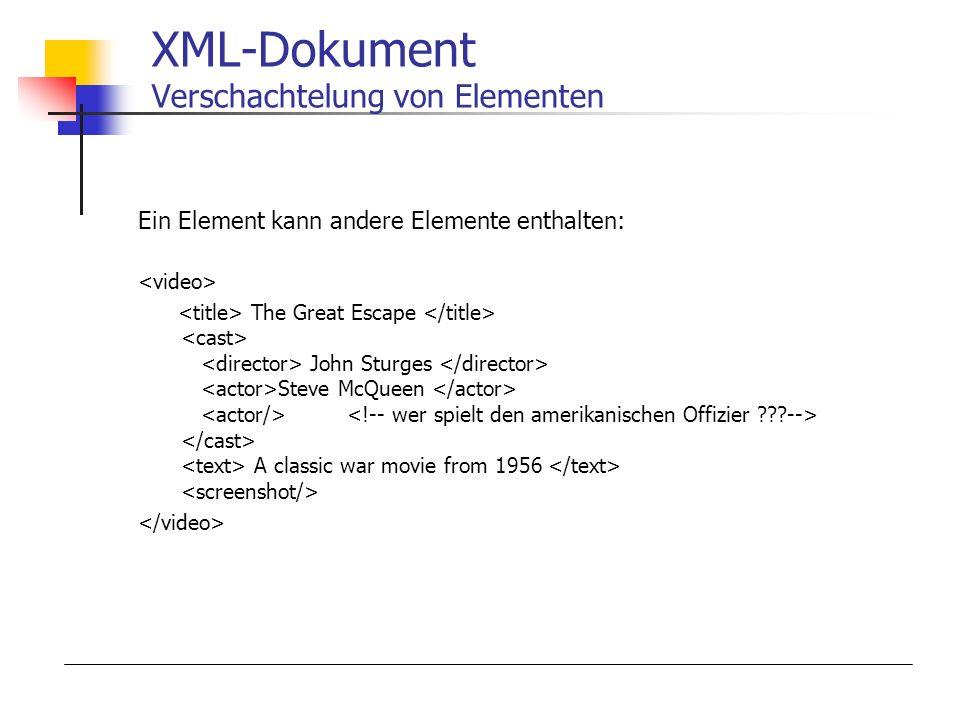 XML-Dokument Verschachtelung von Elementen